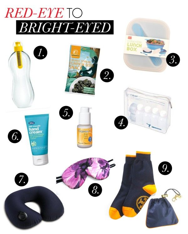 Article with tips for surviving red-eye flights...our additions: blanket, eye drops and oil-blotting sheets!