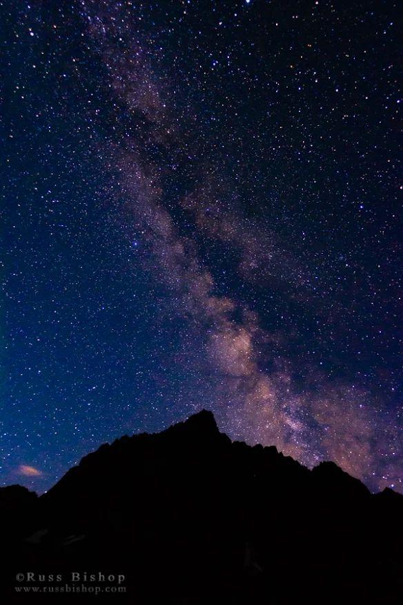 The Milky Way over the Palisades, John Muir Wilderness, Sierra Nevada Mountains, California ~ Russ Bishop, www.russbishop.com