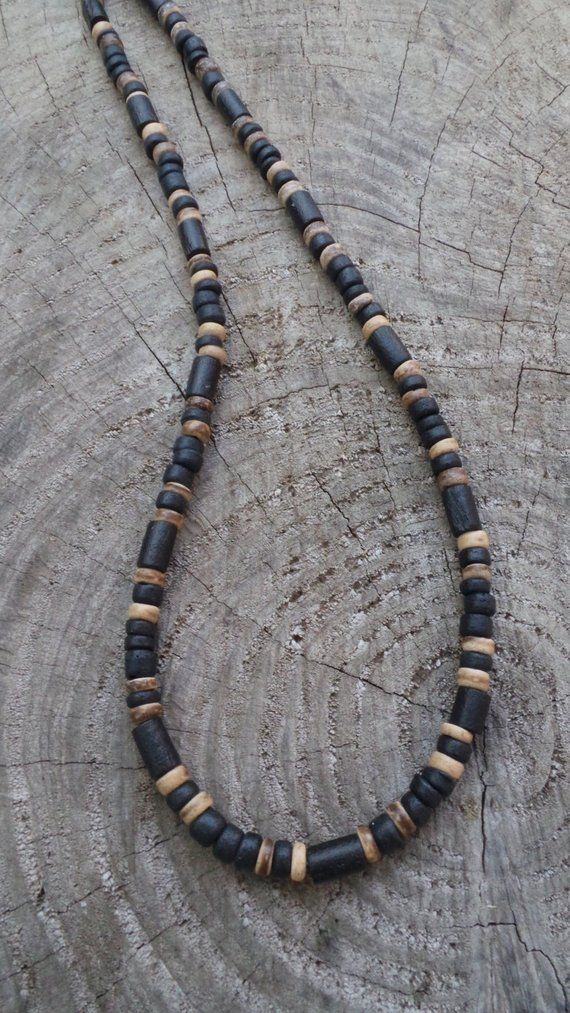 Mens Necklace Mens Beaded Necklace Surfer Style Necklace Black