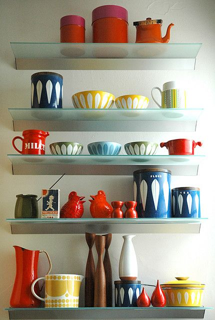 mid-century kitchen Klutter...love it...and I got rid of one of these bowls   :-C