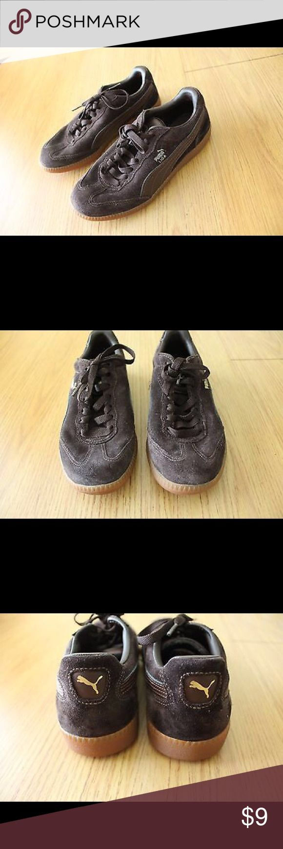 """Puma Liga Brown Suede Mens Trainers Size 5 USA Puma Liga Brown Suede Mens Trainers Size 5 USA 37 EUR - 352198 03. Shoes measure 10"""" heel to toe 3 3/4"""" widest part bottom. See photos Puma Shoes Athletic Shoes"""
