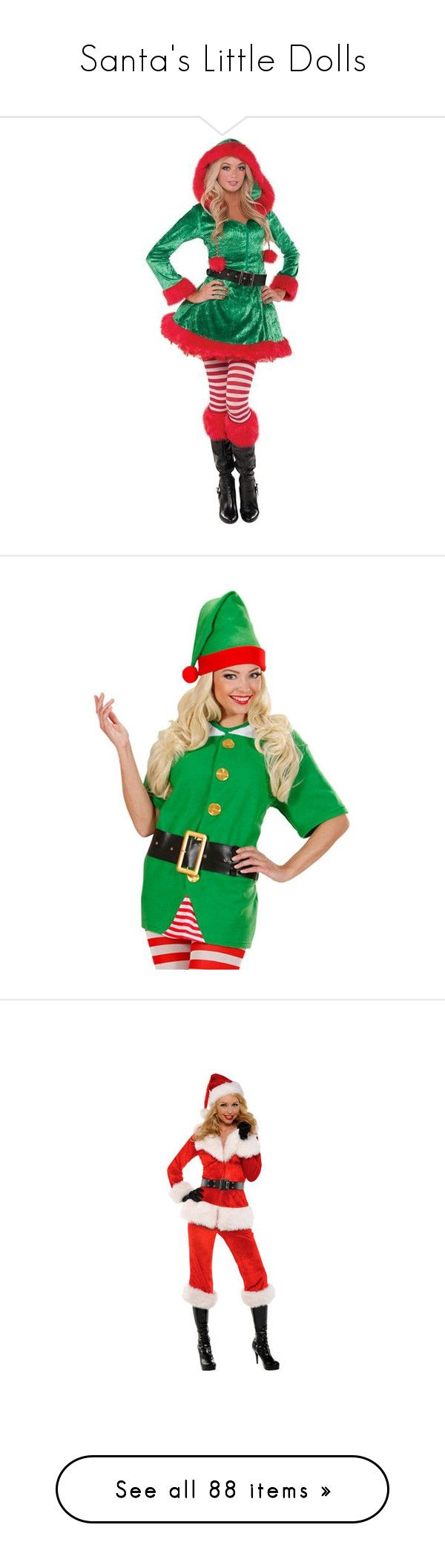 """""""Santa's Little Dolls"""" by jennziegirl ❤ liked on Polyvore featuring costumes, sexy santa claus costume, sexy costumes, green santa suit, santa costume, santa suit, men's fashion, men's clothing, men's costumes and christmas"""