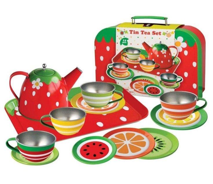 Tesett i tinn med frukt og bær, 15 deler
