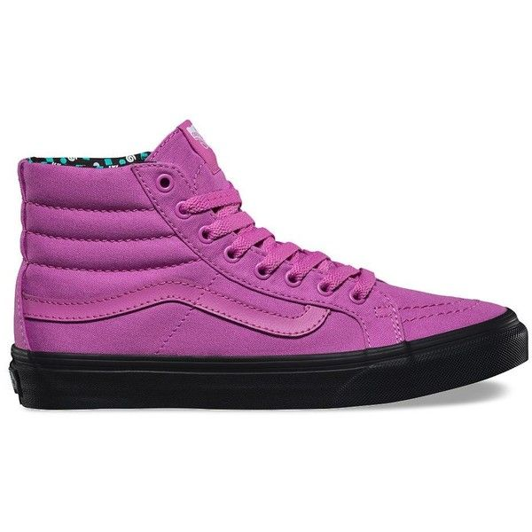 Vans Pop Dots SK8-Hi Slim ($65) ❤ liked on Polyvore featuring shoes, sneakers, purple, lace up shoes, polka dot shoes, lacing sneakers, high top trainers and vans shoes