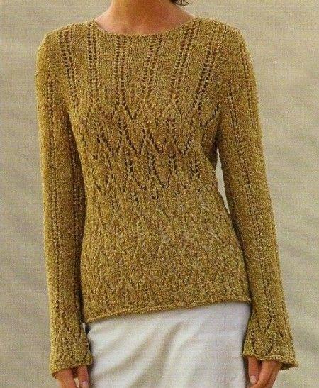 Lavori a maglia per creare un pullover con righe traforate FREE