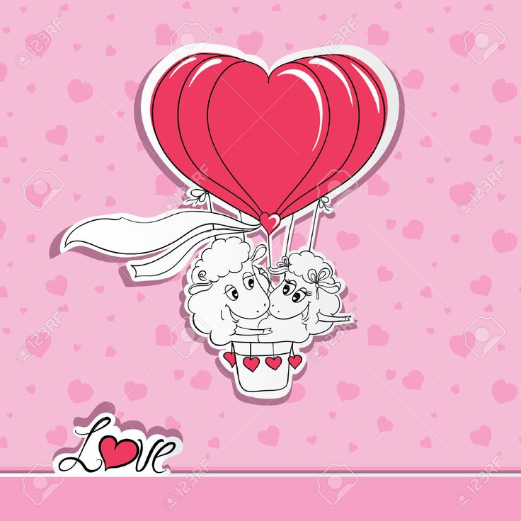 Пара в любви. Ручной обращается Счастливая пара овец езда на воздушном шаре. Идея для поздравительной открытки с днем свадьбы или День святого Валентина. Векторная иллюстрация Клипарты, векторы, и Набор Иллюстраций Без Оплаты Отчислений. Image 35652463.
