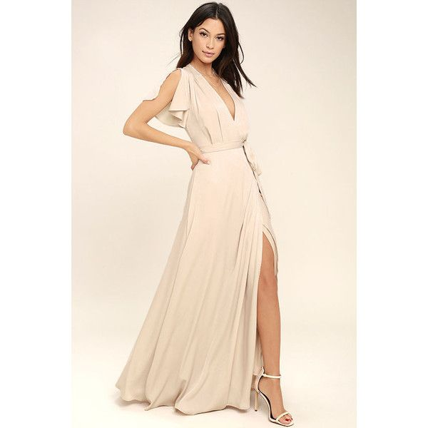 City of Stars Nude Maxi Dress ($69) ❤ liked on Polyvore featuring dresses, beige, ruffle maxi skirt, long maxi skirts, lulu's dresses, beige maxi dress and pink maxi skirt