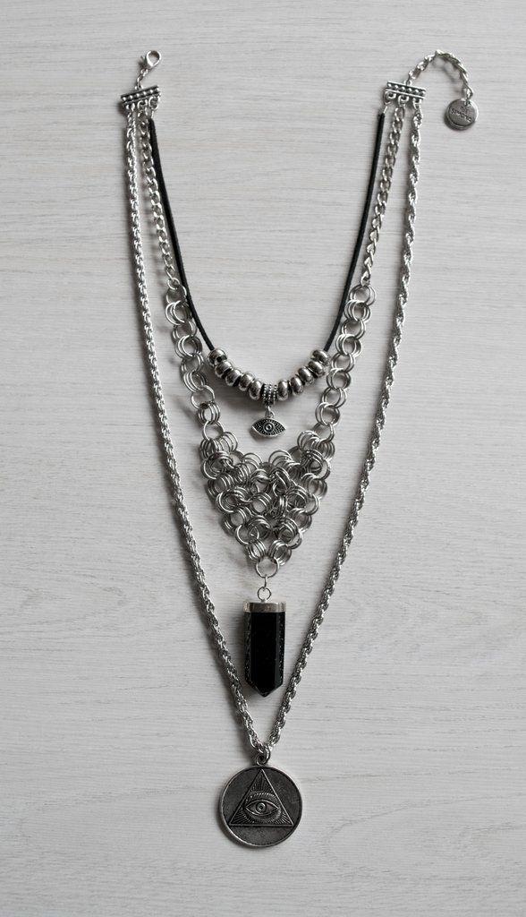 Xinca Collar. Péndulo de Obsidiana Negra.