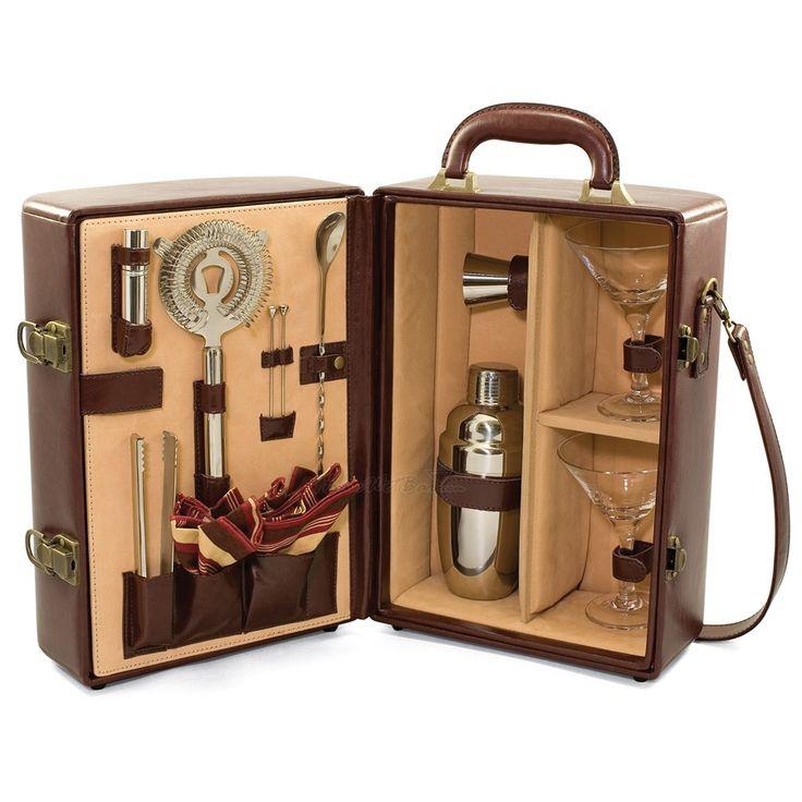 Dopp kit leather travel bar set backyard cocktails june for Craft cocktail gift set