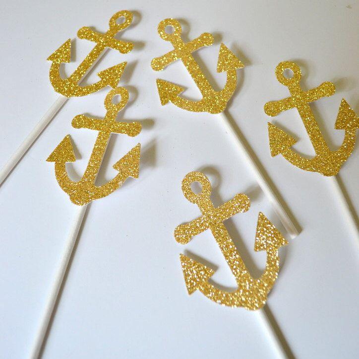 24 Gold Glitter Anchor Cupcake Toppers Nautical Party Decor Nautical Birthday Party Decor Nautical Wedding Nautical Bridal Shower Weddingi by PopFizzHooray on Etsy https://www.etsy.com/listing/246493700/24-gold-glitter-anchor-cupcake-toppers