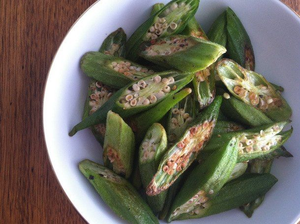 Okra chips...up temp to 425F, can also leave whole. Roast 20-25 minutes or until browned/crispy.