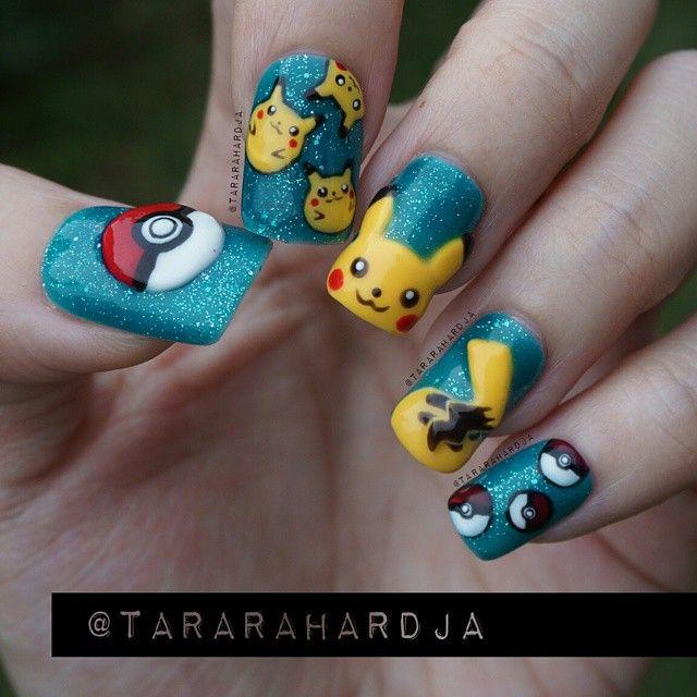 """Nail Updates — Tara Rahardja on Instagram: """"3D pikachu nails..."""