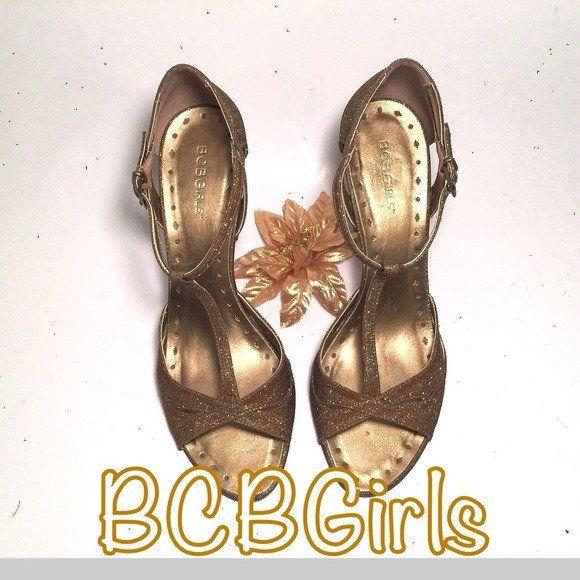 BCBGirls Stilettos Gold Sparkle Sequins Shoes