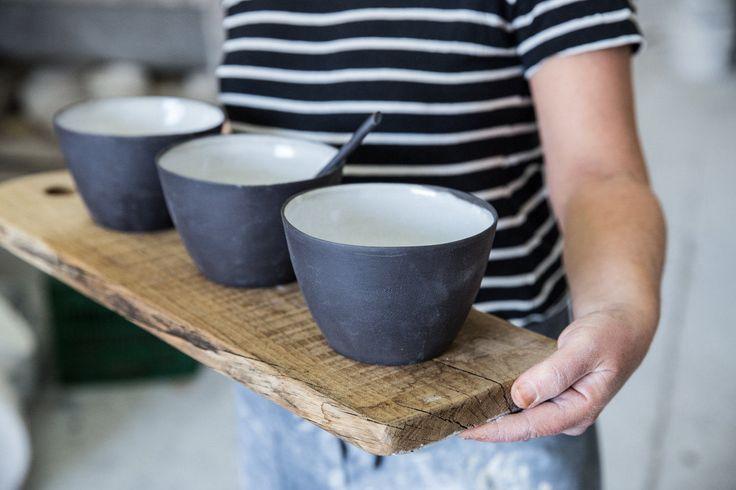 Ceramic Bowl Set, Pasta Bowl, Serving Bowl Salad, Bowl Black and White, Dinnerware Set, Ceramic Serving Bowl, Pottery Serving Bowl Set by 1220CeramicsStudio on Etsy