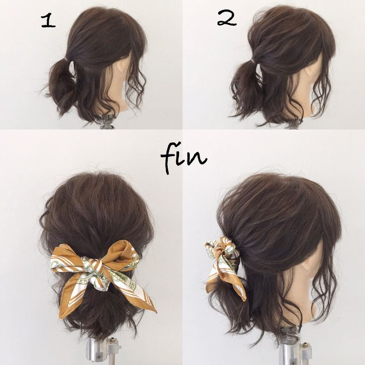 Bob's Easy Scarf Arrangement (^^) 1. Bilden Sie einen Pferdeschwanz mit einer Linie auf Ihrem Ohr! 2, total kaputt! ! ! S ...
