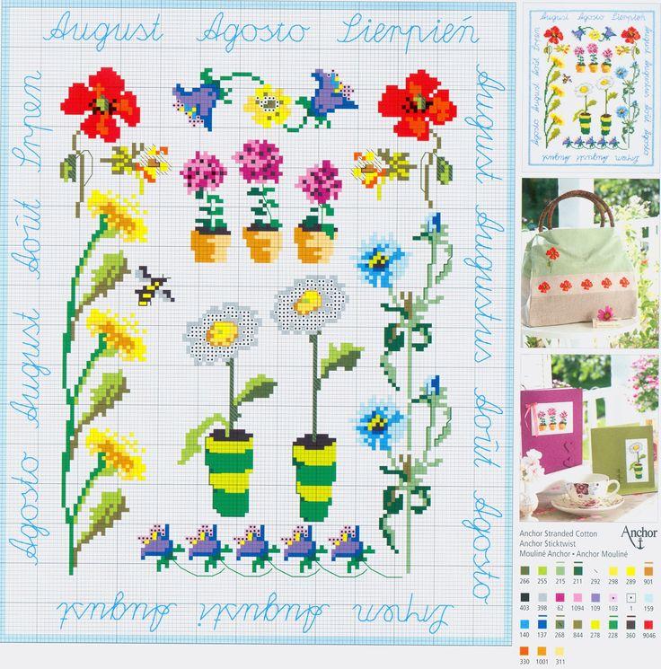 August Flowers free cross stitch pattern from www.coatscrafts.pl