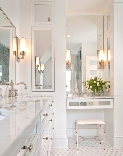 Recessed bathroom storage... extra-tall, mirrored storage and medicine cabinet… it's a GREAT way to use the space between wall studs!!