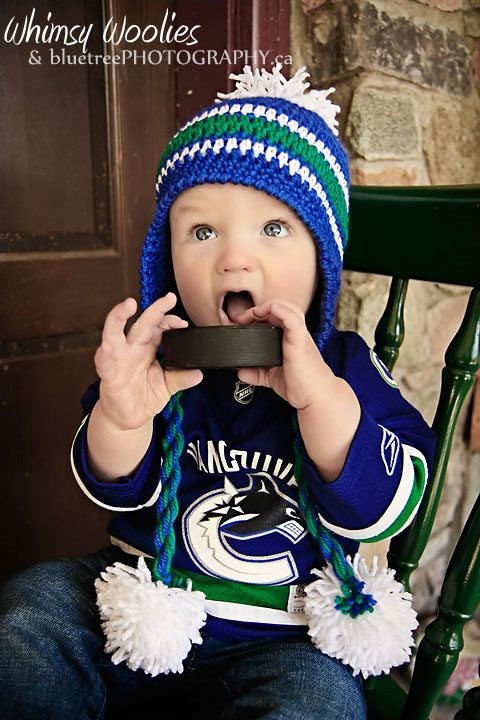 "PATTERN: ""Lil' Nuck Pom Pom"" -  Crochet hat and hockey socks, Vancouver Canuck's (12-24 months). $4.99, via Etsy. Henry NEEDS me to make this for Hockey season"