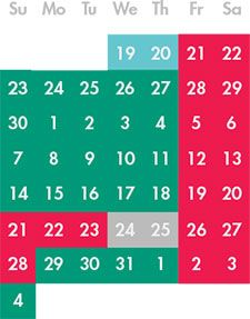 Calendar for Houston Zoo Lights, 2014.  Light blue members only, Teal - value nights, Pink - prime nights.