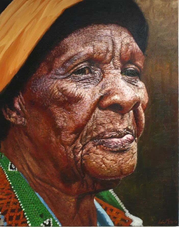 African Yellow Hair Realistic Portrait Paintings By South African Artist