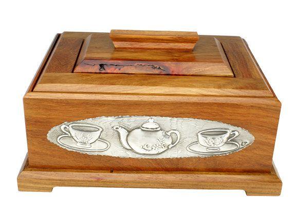 Wooden Tea Caddy Tea Chest Tea Box by Loutul on Etsy