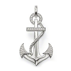 PE461-051-14.  Thomas Sabo.  Anchor has symbolic meaning of Hope, Faith, Love.  Pendant with eyelet  925 Sterling silver  white syn. zirconia-pavé  The new anchor sparkles with syn. pavé zirconia stones.  Size: 4.9 cm