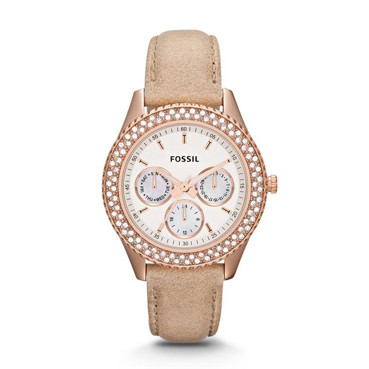 €149, rose goud , bruin bandje. Fossil Stella horloge ES3104 - Catalogus