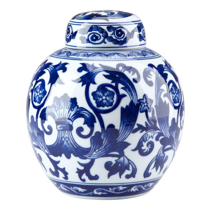 bombay heritage blue u0026 white scroll ginger jar - Ginger Jars