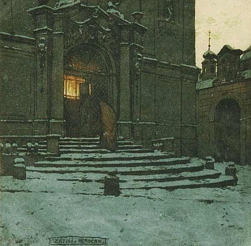 A Quiet Spot in Hradcany, color etching by Tavik Frantisek Simon, 1877-1942, Bohemia, now Czech Republic.  Atmospheric scene in Hradcany's Castle District in Prague surrounding Prague Castle. Simon was a student and later professor at the Academy of Fine Arts in Prague.