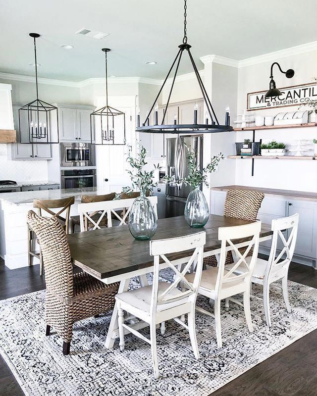 You Can Hang A Big Mirror In A Central Area Of Your Space Or Place It Across A Windo Farmhouse Dining Room Table Farm House Living Room Dining Room Table Decor