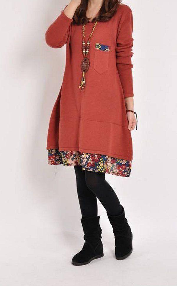 Women loose fit dress flower patchwork long sleeve dress skirt fashion trendy #unbranded