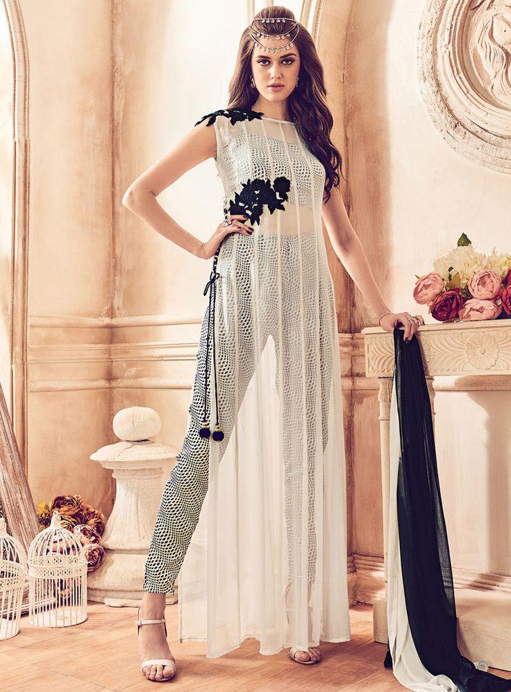 Off White Georgette Straight Cut Salwar Suit 84794