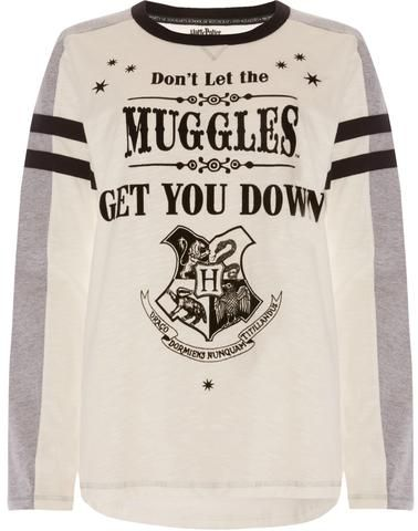PRIMARK HOGWARTS DONT LET MUGGLES GET YOU DOWN Harry Potter PJ Top Long Sleeves