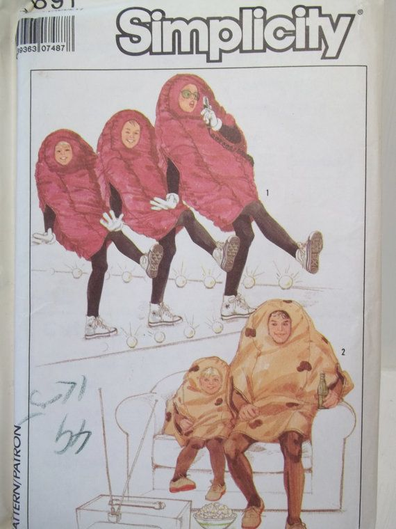 items similar to couch potato or california raisin halloween costume simplicity 8891 adult retro sewing pattern gloves and hood uncut chest size 30 48 on - California Raisin Halloween Costume