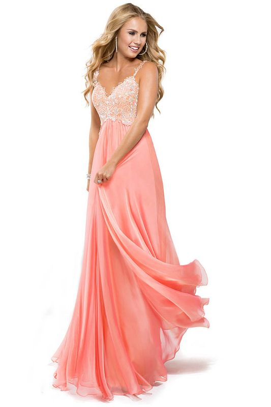 2016 Low Back Straps A Line Chiffon Prom Dress With Lace Bodice
