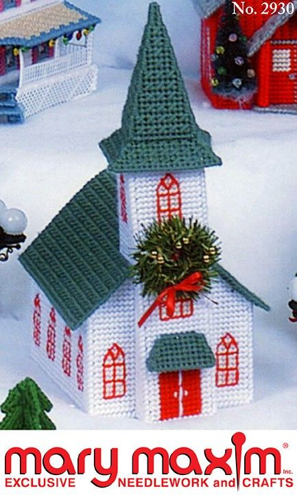 Use this pattern to make a church out of plastic canvas and yarn.