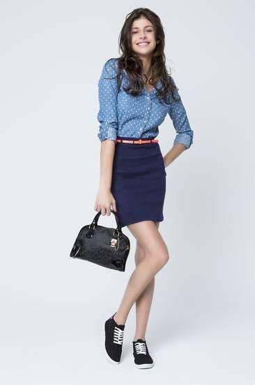 Tally Weijl, blue polka dot denim shirt dress