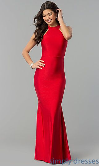 fab499bd92 Shop formal mermaid prom dresses at Simply Dresses. High-neck sleeveless  dresses with long mermaid skirts and racer-front formal dresses under $150  for ...