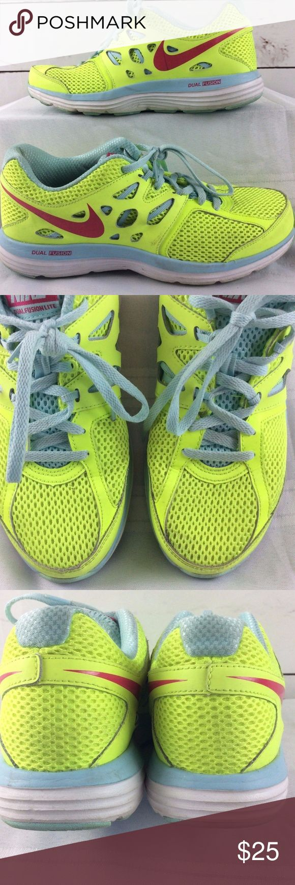 Nike Dual Fusion Lite Shoes Nike Womens Sneaker Size 8 Dual Fusion Lite Neon Green Light Blue Running Shoes.  Good used condition. Nike Shoes