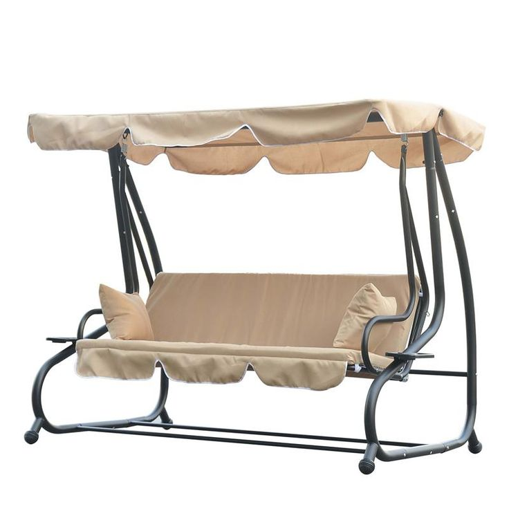 Buy outdoor 3 person metal frame porch patio swing bench for Swinging bed frame