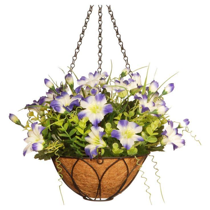 Petunia Flowers Artificial Hanging Basket Purple 13 - National Tree Company