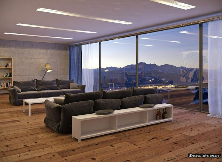 Modern Neutral Great View Living Room With Grey Cozy Sofa And Wooden Floor By Slavinsky