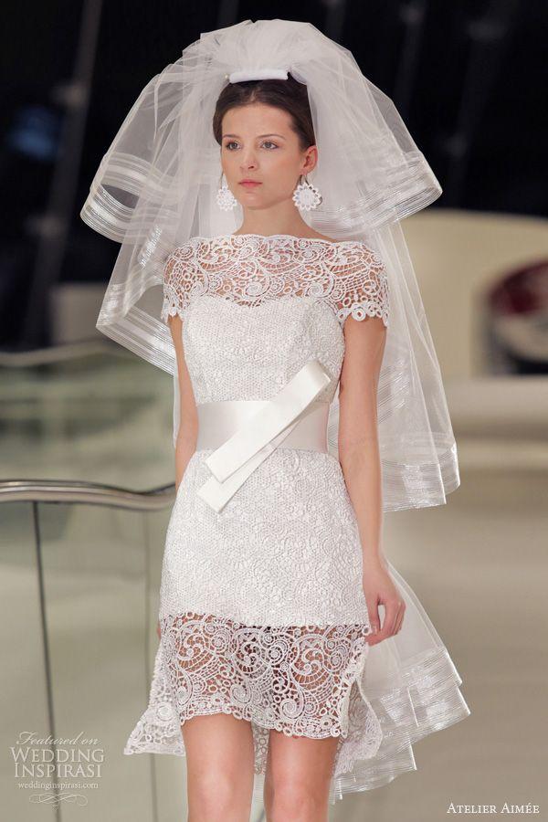 116 best short dress long veil images on pinterest for Long veil wedding dresses
