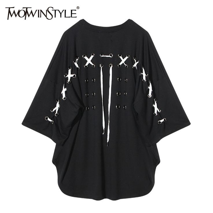 >> Click to Buy << TWOTWINSTYLE Female T-shirt for Women Punk Korean Top Lace up Batwing Short Sleeve Oversized Tee Tops Big Sizes Casual Clothes  #Affiliate