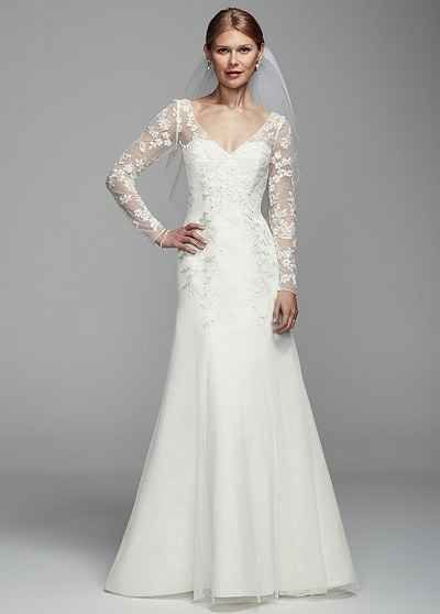 This long illusion sleeve tulle gown, $349.99.
