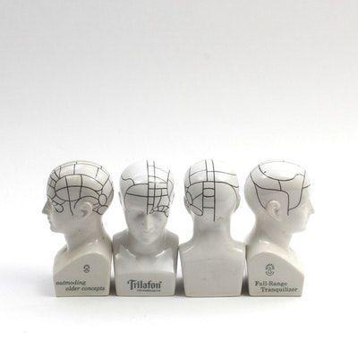 Vintage 1960s Schering Promotional Phrenology Statuettes by Boehm