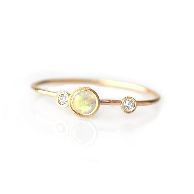 14kt Gold Opal and Diamond Adele Ring