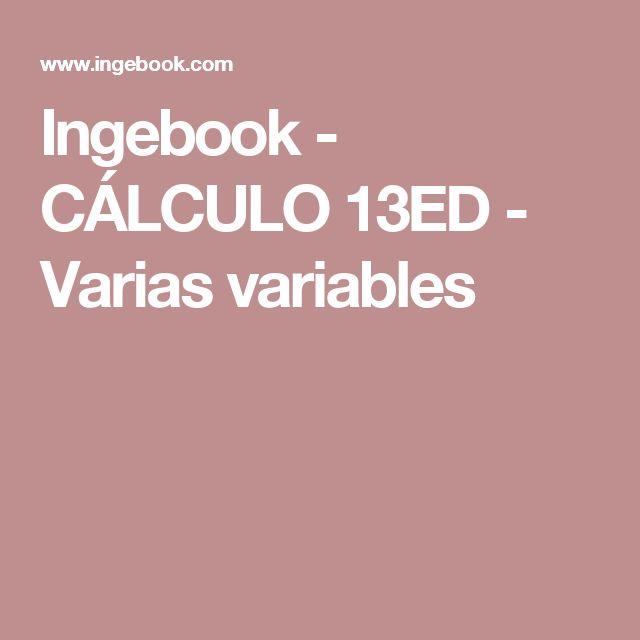 Ingebook - CÁLCULO 13ED - Varias variables