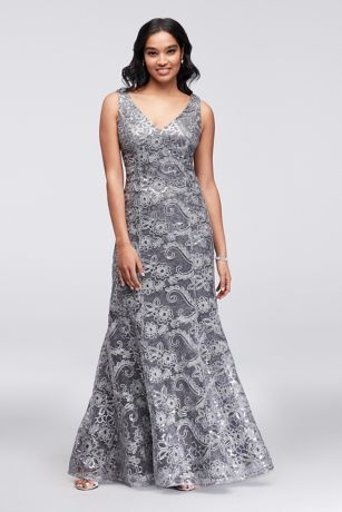 2225435d Sequined Lace Sheath and Cold-Shoulder Capelet Style 7120131, Slate ...