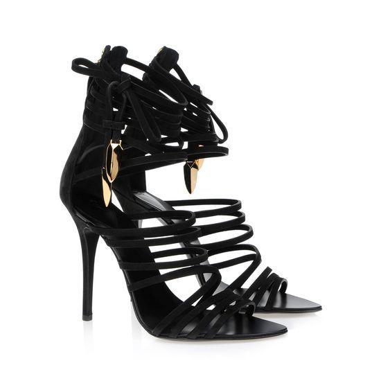 van Giuseppe Zanotti enkelbandjes kalfsleder gladiator zwarte sandalen e40088 001